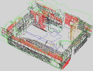 3-D-Modell Ulm Neue Straße Drahtmodell eines aufgemessenen Kellers mit eingepassten Profilen. Bild: H. Lang, Reg.-Präs. Stuttgart, Landesamt für Denkmalpflege