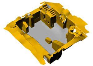 3-D-Modell Ulm Neue Straße Modell eines tachymetrisch aufgemessenen Kellers. Bild: H. Lang, Reg.-Präs. Stuttgart, Landesamt für Denkmalpflege