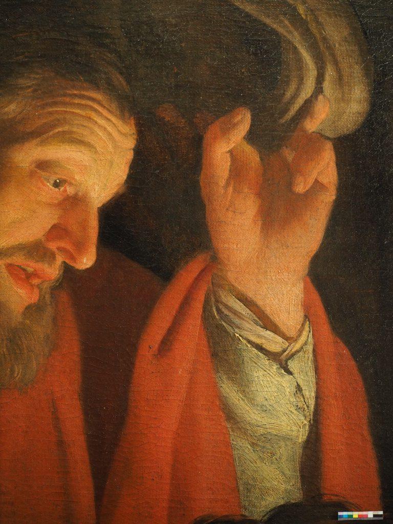 """Die Restaurierung des Gemäldes """"Anbetung der Hirten"""" von Gerrit van Honthorst aus dem Jahr 1622, (Öl auf Leinwand) wurde im Jahr 2015 mit Mitteln des NRW-Restaurierungsprogramms gefördert. Foto: Abt. Kunsttechnologie und Restaurierung,  Wallraf-Richartz-Museum & Fondation Corboud in Köln"""