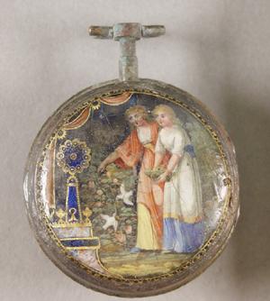Rückseite einer Taschenuhr, Anfang 19. Jahrhundert - nach der Restaurierung. Email, Kupferlegierung, Glas, Eisen. Foto: Reiss-Engelhorn-Museen, Mannheim