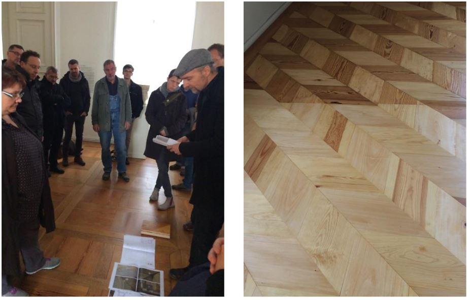 Erläuterungen zur Restaurierung und Teilrekonstruktion des Tafelparketts.