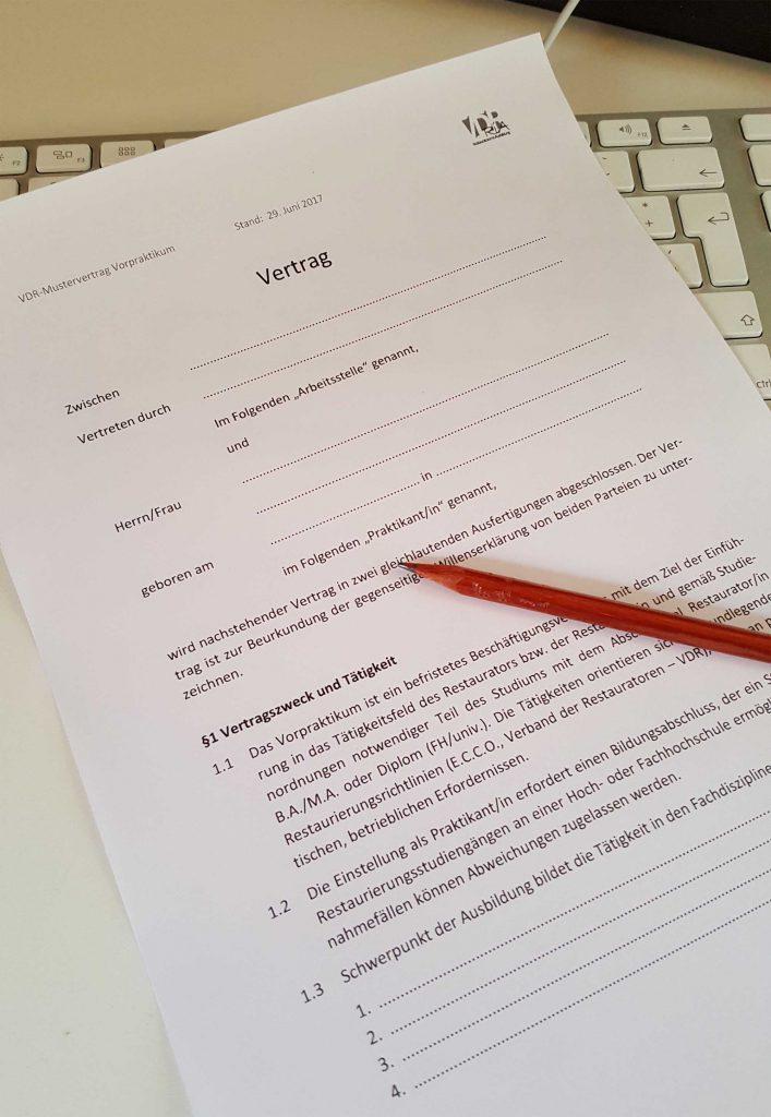 Neuer Mustervertrag Für Praktikanten Verband Der Restauratoren Vdr