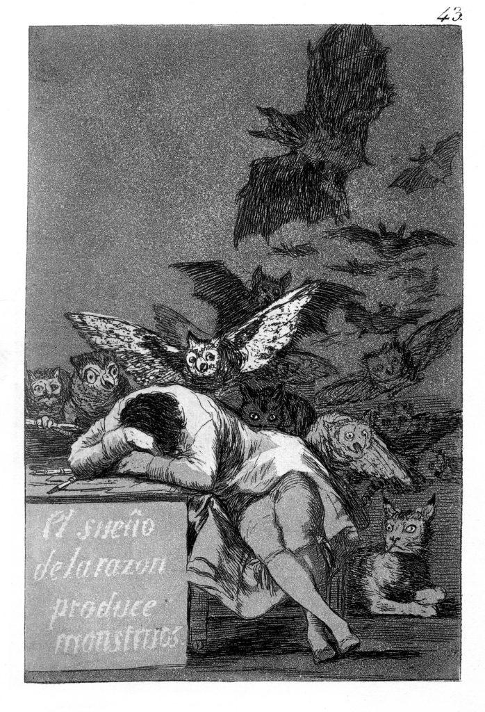 Goya, Der Schlaf der Vernunft gebiert Ungeheuer, Capricho No. 43, 1797-98, Madrid