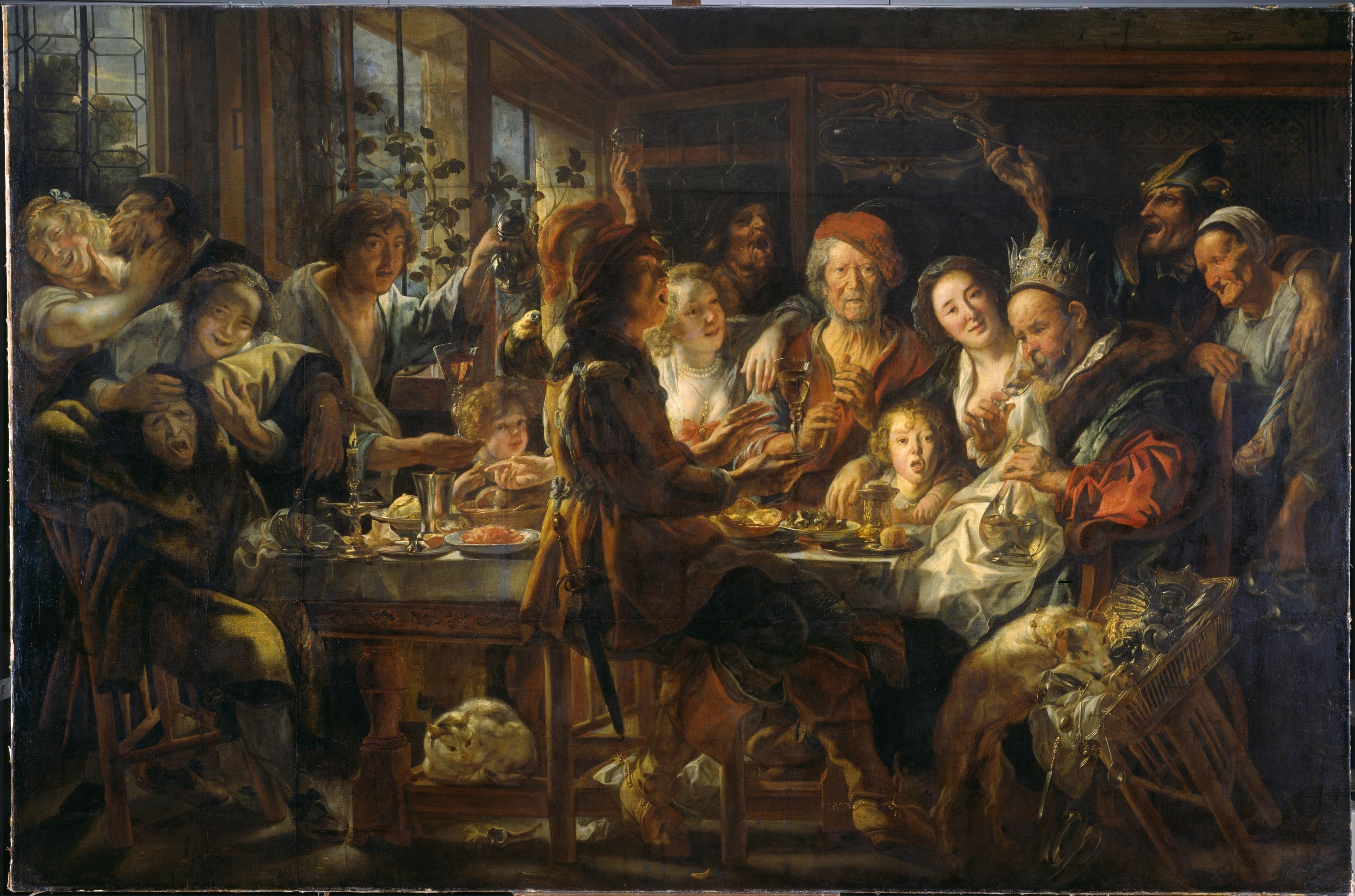 Jacob Jordaens, Das Bohnenfest, Museumslandschaft Hessen Kassel, Gemäldegalerie Alte Meister Inv.Nr. GK 108 (Foto: Arno Hensmanns)