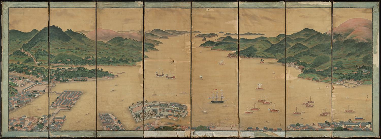 View of Deshima in Nagasaki Bay - Kawahara Keiga (Museum Volkenkunde)