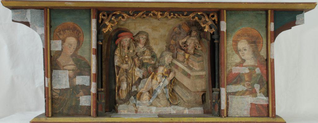 Predella mit Relief und zwei Tafelgemälden, Peter Breuer, 1521, Gemeinde Kirchberg, Zustand vor der Konservierung (Foto: Eva Tasch)