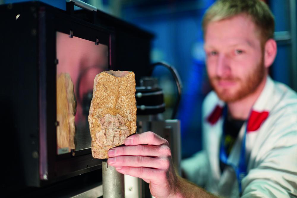 Untersuchungen von Fossilien mittels Tomographie sind am Instrument ANTARES am Heinz Maier-Leibnitz Zentrum (MLZ) möglich. Im Unterschied zur Röntgen CT bieten Neutronen häufig bessere Kontraste zwischen Gestein und Fossil. © B. Ludewig