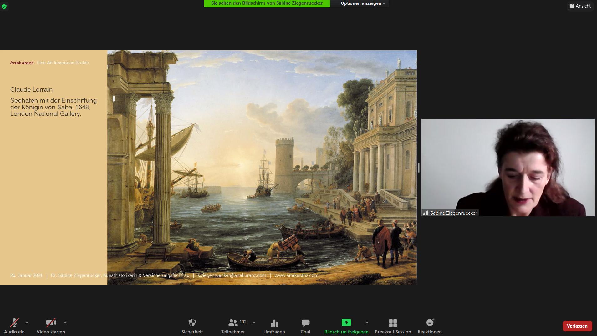 """Screenshot vom VDR-Webinar """"Kunst- und Haftpflichtversicherung"""" mit Dr. Sabine Ziegenrücker (Foto: VDR)"""