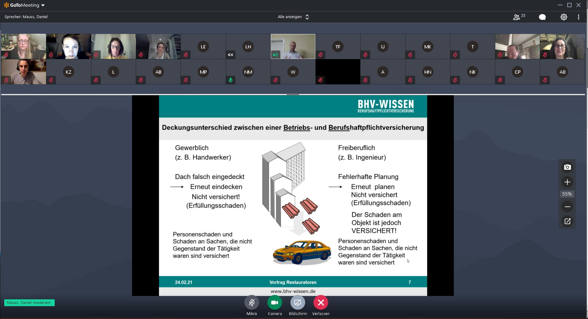"""Screenshot vom Webinar mit Daniel Mauss """"Richtig versichert als Restaurator:in (Berufs-/Betriebshaftpflicht)"""""""