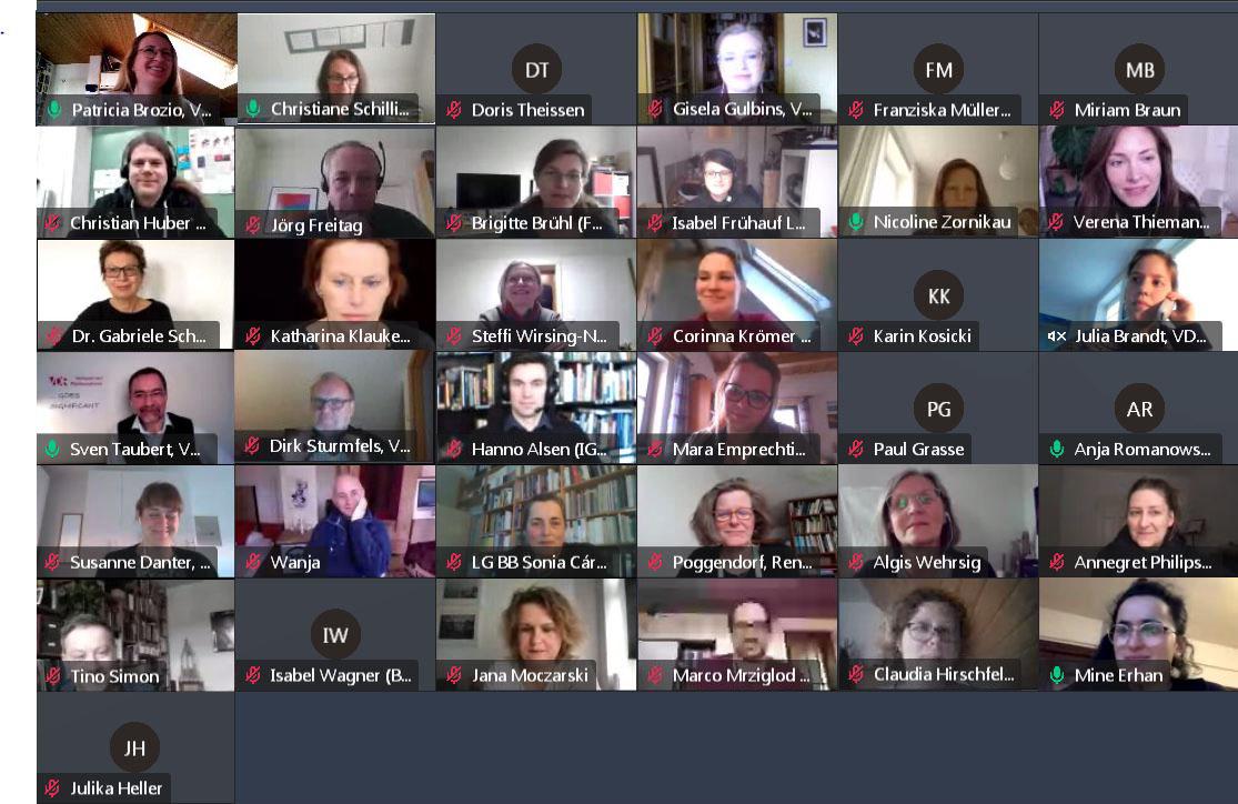 Die 41. Vorstandssitzung des VDR im März 2021 fand erneut per Videochat statt. Screenshot: VDR Geschäftsstelle