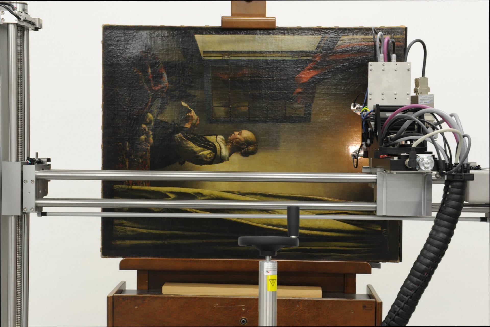Röntgenfluoreszenzanalyse an Johannes Vermeer, Brieflesendes Mädchen am offenen Fenster, um 1657-59 (© Gemäldegalerie Alte Meister, Staatl. Kunstsammlungen Dresden, Foto: Maria Körber)