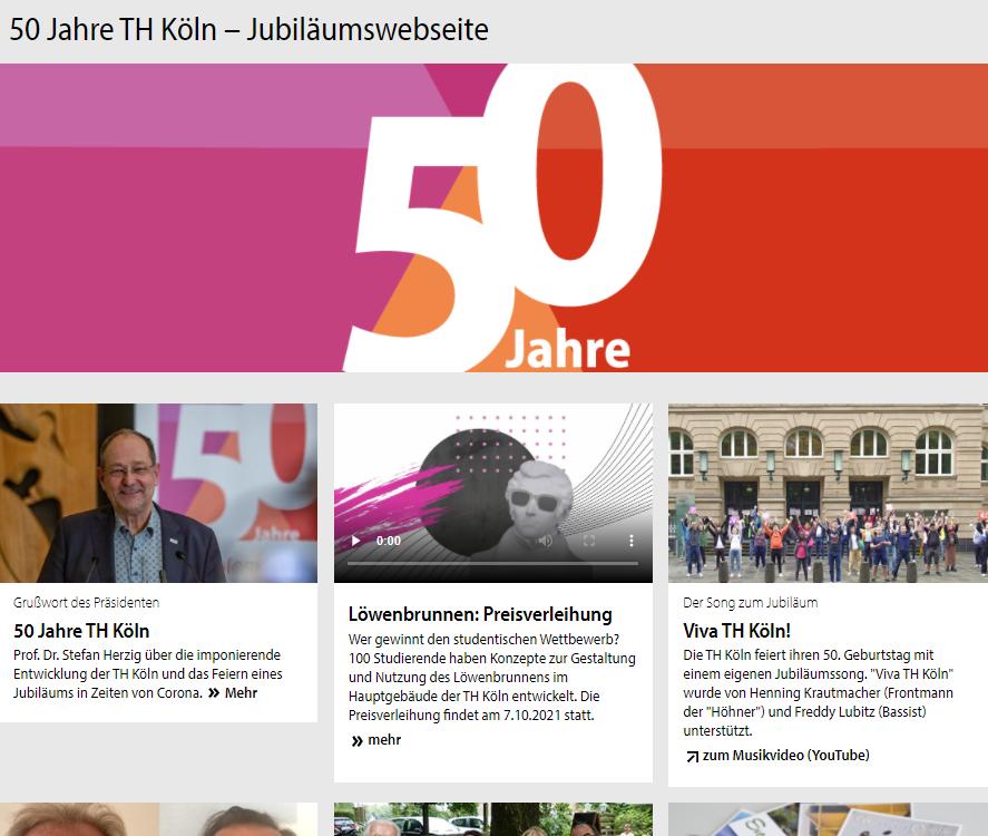 Blick auf die Jubiläumsseite der TH Köln